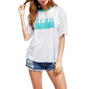 Contrast Round Neck Short Sleeve ZERO Letter Casual Tee for Women