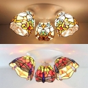 Conical Hotel Flush Mounted Light Stained Glass 3 Lights Victoria/Dragonfly Tiffany Style Ceiling Light