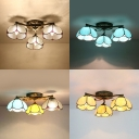 Living Room Dome Ceiling Lamp Clear/Blue/Yellow/Colorful Glass 3 Lights Antique Semi Flush Mount Light