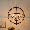 Living Room Globe Hanging Light Metal 5 Lights Vintage Style Black Chandelier