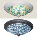 Glass Bowl Ceiling Light Mediterranean Style Flush Mount Light in Black/White for Bedroom
