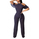 Hot Fashion Dark Blue Geometric Print Sexy Cut Out Short Ruffle Sleeve Halter Bow-Tied Waist Jumpsuit For Women