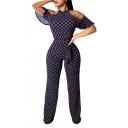 Hot Fashion Dark Blue Geometric Print Sexy Cut Out Short Ruffle Sleeve Halter Bow-Tied Waist Jumpsuit For Women