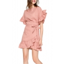 Girls Summer Sweet Ruffled Hem Round Neck Tied Waist Simple Plain Mini A-Line Dress