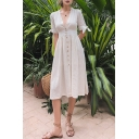 Womens Holiday Vintage V-Neck Bow-Tied Cuff Button Front White Linen Midi A-Line Dress