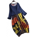 New Stylish Ethnic Print Round Neck Long Sleeve Loose Midi A-Line Cotton Dress