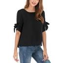 Summer Hot Popular Simple Plain Black Round Neck Tied Sleeve Chiffon Top