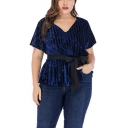 Womens Plus Size V-Neck Short Sleeve Bow-Tied Waist Blue Tee