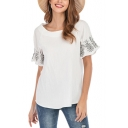 Womens Chic Floral Embroidery Short Sleeve White Linen Casual Loose T-Shirt
