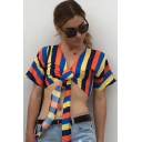 Women's Fashion Color Stripes Printed V-Neck Short Sleeve Twisted Chiffon Crop Tee