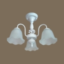 Restaurant Flower Semi Flush Light Frosted Glass 3/5/6/8 Lights Antique White Ceiling Light