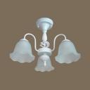 Restaurant Flower Semi Flush Light Frosted Glass 3/5/6/8 Lights Antique White Ceiling Light