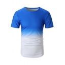 Men's New Style Ombre Print Round Neck Short Sleeve Casual T-Shirt