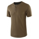 Men's Hot Stylish Short Sleeve Button Round Neck Plain Henley Shirt