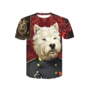 New Trendy Funny 3D Dog Printed Basic Round Neck Short Sleeve Red Casual T-Shirt For Men