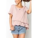 Hot Fashion Basic Solid Color Round Neck Short Sleeve Ruffled Hem Casual T-Shirt