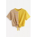 New Trendy Colorblock Striped Printed Round Neck Short Sleeve Tied Hem Cropped Ginger T-Shirt