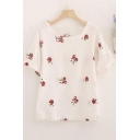 Summer Chic Floral Embroidery Round Neck Short Sleeve Casual Linen T-Shirt