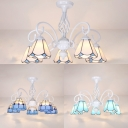 Metal Conical Semi Flush Light 5 Light Rustic Style Ceiling Lamp in White/Sky Blue/Blue for Living Room