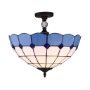 Glass Dome Semi Flush Light Dining Room 3/4 Lights Mediterranean Style Ceiling Fixture