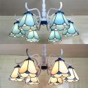 Tiffany Style Blue/White Ceiling Light Cone 6 Lights Glass Semi Flush Light for Living Room