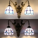 Mermaid Dining Room Sconce Light Stained Glass 2 Lights Tiffany Style Wall Lamp