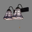 Rustic Style Bell Sconce Light Metal 2 Lights Wall Lamp with Pull Chain Switch for Hotel