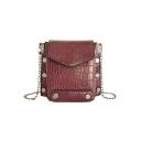 Designer Crocodile Pattern Rivet Embellishment Crossbody Phone Bag 18*9*16 CM