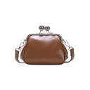 Simple Solid Color PU Leather Crossbody Clutch 17*9*13 CM