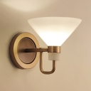 Bedroom Study Room Conical Wall Lamp Frosted Glass 1 Light Contemporary Brass Sconce Light