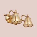 Elegant Style Brass Wall Sconce Tapered Shade 2/3 Lights Metal Sconce Light for Restaurant