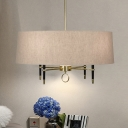 Drum Shade Dining Room Chandelier Fabric & Metal 4 Lights American Rustic Suspension Light