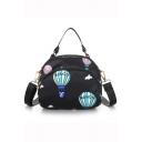 Designer Hot Air Balloon Printed Portable Nylon Crossbody Shoulder Bag 20*8*16 CM