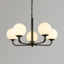 Frosted Glass Globe Pendant Light 5/6/8 Lights Traditional Chandelier in Black for Bathroom