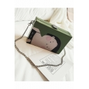 Cute Cartoon Character Printed Green Crossbody Bag with Chain Strap 19*5*12 CM