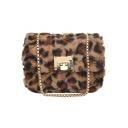 Chic Leopard Pattern Fur Sling Crossbody Shoulder Bag 18*9*14 CM