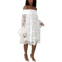 Womens New Stylish Polka Dot Off the Shoulder Ruffled Sleeve Jacquard Midi Dress