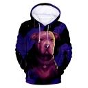 New Trendy 3D Dog Printed Basic Long Sleeve Pullover Sport Loose Hoodie