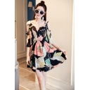 Women's Hot Fashion Round Neck Cut Out Half Sleeve Floral Print Mini Loose A-Line Beach Black Dress