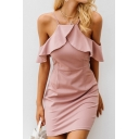 Women's Plain Printed Cold Shoulder Short Sleeve Ruffle Detail Mini Slip Pink Dress