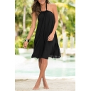 Women's Halter Sleeveless Plain Print Backless Mini Slip Dress