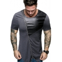Unique PU Patchwork Zip Embellished Short Sleeve Round Neck Fitted T-Shirt