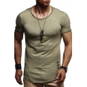 Men's Fashion Ripped Round Neck Short Sleeve Plain Fitted T-Shirt