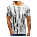 Hot Fashion Splash-Ink Print Short Sleeve Round Neck Casual T-Shirt for Men