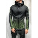 Guys New Fashion Ombre Color Long Sleeve Zip Front Slim Fitted Sport Hoodie