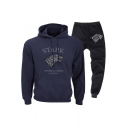 New Fashion Stark Wolf Badge Printed Casual Loose Hoodie with Sweatpants Sport Two-Piece Set