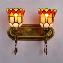 Bell Bedroom Sconce Light Stained Glass 2 Lights Tiffany Style Rustic Wall Light with Crystal