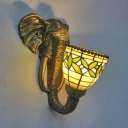 Stained Glass Leaf Wall Light 1 Light Rustic Style Wall Sconce with Elephant for Hallway Stair