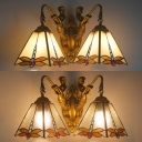Vintage Style Wall Sconce Dragonfly 2 Lights Stained Glass Sconce Light with Mermaid for Cafe Bar