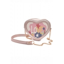 Stylish Heart Shape Letter Printed Small Crossbody Sling Bag 18*8*15 CM
